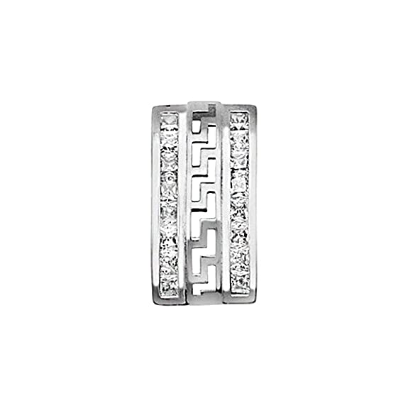 18k white gold pendant rhinestones 2mm fretwork. [AA4648]