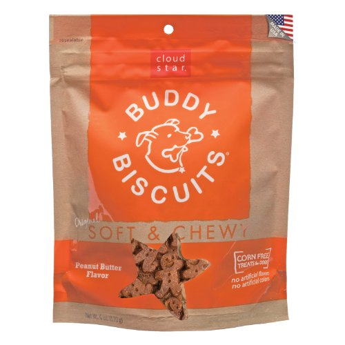 Cloud Star Soft & Chewy Buddy Biscuits Dog Treats, Peanut Butter, 6-Ounce Pouches (Pack of 4)