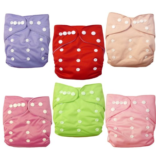 LOVE MY(TM) Baby Washable Reusable Cloth Diapers,breathable, Adjustable Snap, 6pcs Pack Pocket Cloth Diaper with 2 Inserts Each , 6 Pcs + 12 Inserts (princess Color)