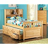 Capt's Bookcase w/3 drawer Trundle Natural Maple/Twin
