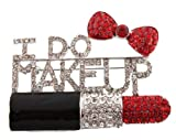 Ladies Iced Out Black with Red &quot;I Do Makeup&quot; Style Brooch & Pin Pendant