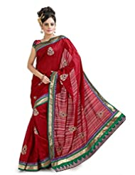 Designersareez Women Bhagalpuri Silk Embroidered Dark Red Saree With Unstitched Blouse(1042)