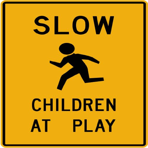 Street & Traffic Sign Wall Decals - SLOW Children at Play Symbol Sign - 12 inch Removable Graphic