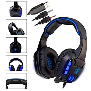 Sades Pro Over Ear Usb Surround Sound Stereo Pc Gaming Headphones with Microphone Vibration Volume Control Led light