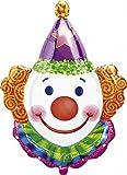 "XL 25"" Clown Head Super Shape Mylar Foil Balloon Circus Carnival Party"
