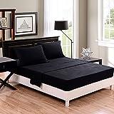 Honeymoon super soft/ Elegant/ Wrinkle Free/ Fade-resistant/ No Ironing 4PC bed sheet set, Twin/Full/Queen/King, Black, deep pockets, sensitive skin, fine workmanship, Easy Care