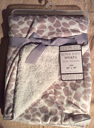 "Super Soft Sherpa Baby Blanket ""Little Giraffe Gray"""