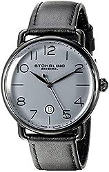 Stuhrling Original Men's 695.03 Symphony Analog Display Swiss Quartz Date Black Leather Strap Watch