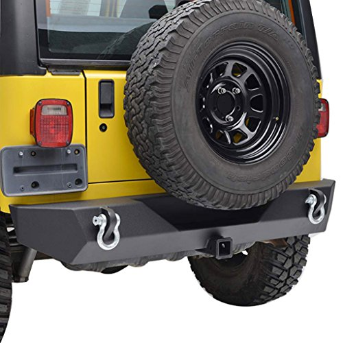 E-Autogrilles 87-06 Jeep Wrangler TJ/YJ Black Textured Off Road Rear Bumper with 2