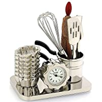 Miniature Chef's Baking Tool Set Novelty Quartz Movement Collector Clock 9994
