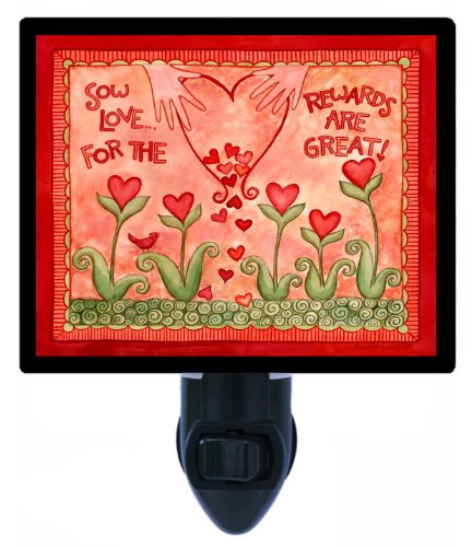 Valentines Day Night Light - Sow Love - Heart Flowers