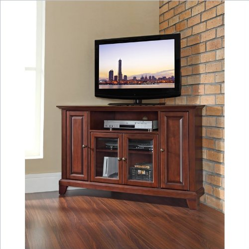 Crosley Furniture Newport 48-Inch Corner TV Stand, Vintage Mahogany