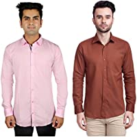 Nimegh Brown, Pink Color Cotton Casual Slim fit Shirt For men's (Pack of 2)