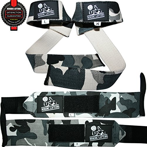 Wrist Wraps + Lifting Straps Bundle (2 Pairs) for Weightlifting, Crossfit, Workout, Gym, Powerlifting, Bodybuilding - Better Than Chalk & Leather - Support For Women & Men - Premium Quality Equipment & Accessories - Use Gloves, Hooks, Wrap & Strap to Avoid Injury During Weight Lifting - (Camo Grey) - 1 Year Warranty!