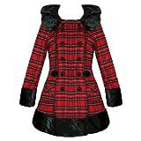 Hell Bunny Ladies Winter Coat Fiona Jane London Tartan Red Removable Hood