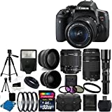 Canon EOS Rebel T6i 24MP Digital SLR Camera and EF-S 18-55mm F3.5-5.6 IS STM With Canon Zoom Telephoto EF 75-300mm f 4.0-5.6 III Autofocus Lens + Telephoto 500mm f 8.0 T- Mount Lens (Long) With 58mm 2x Professional Lens +High Definition 58mm Wide Angle Lens + Auto Flash + Uv Filter Kit with 32GB Complete Deluxe Accessory Bundle