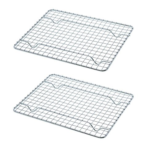 Goson Bakeware Baking, Cooling , Oven Roasting, Broiler Rack, 8in by 10in, Cross Wire, Chrome, Pack of 2, Compatible with Various Baking Sheets Oven Pans (Small Oven Wire Rack compare prices)