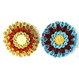 Set Of 2 Hand-Crafted, Quilled Tea Light Holders
