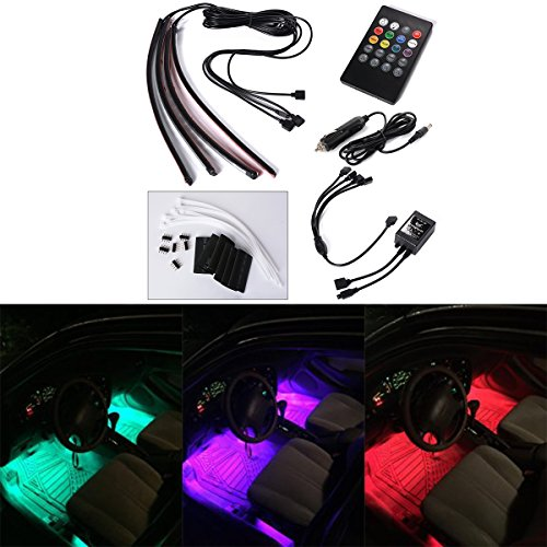 Xcellent Global 4pcs 12 Inch Multi-color Car Interior light LED Atmosphere Neon Light Strip Under Dash Light Kit with Sound Active Function Wireless IR Remote Control DC 12V Car Charger Included AT010 (Automotive Led Accent Lights compare prices)