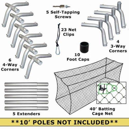 40x12x10 Batting Cage Net and Frame Corner Kit