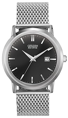 Citizen Watch Mesh Men's Quartz Watch with Grey Dial Analogue Display and Silver Stainless Steel Bracelet BM7190-56H