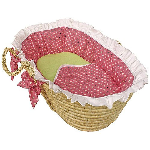 Hoohobbers Ruffled Moses Basket, Daisy