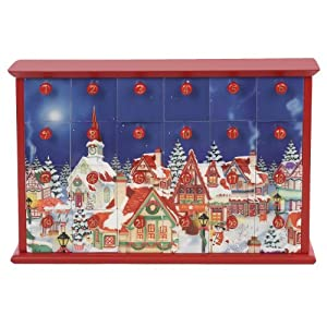 Kurt Adler Advent Calendar with 24-Drawers, 12.4-Inch