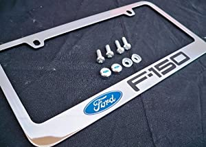 Ford F150 F 150 Chrome Metal License Plate Frame with Screw Caps