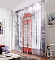 London Street Phone Box 58x90 Ring Top Fully Lined Curtains #retsnimtsew *as* from PCJ Supplies