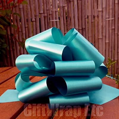 "Teal Blue Pull Bows - 8"" Wide, Set of 6"