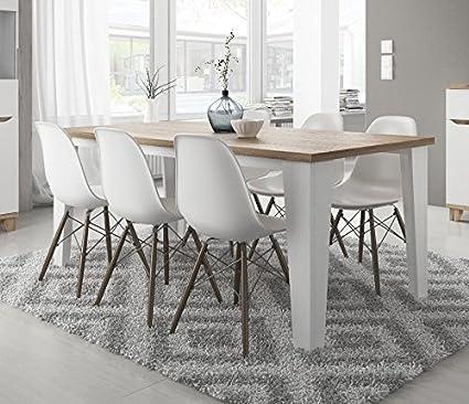 Tavolo da sala da pranzo scandinavo legare in legno 180cm Bianco con piedi in legno