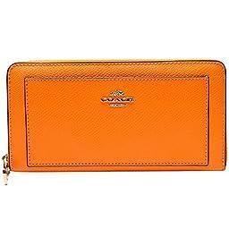 Coach Crossgrain Leather Accordion Zip Around Wallet 52648 Orange Peel