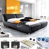 Polsterbett Noel 180x200 schwarz + 2x Nako Flash + Matratze + Lattenrost Kunstlederbett Designerbett Doppelbett...