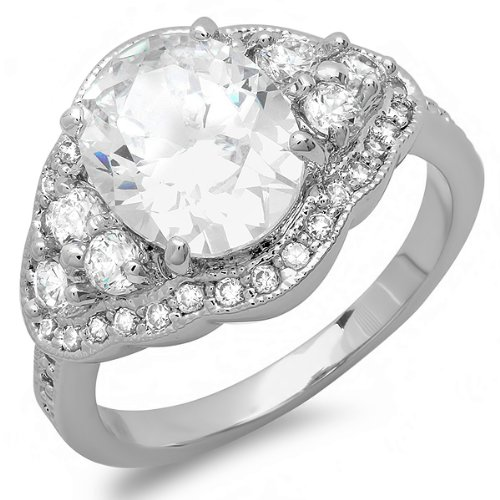 4.00 CT Classic Ladies Oval & Round Cut White Cubic Zirconia CZ Promise Ring (Available in size 6, 7, 8) (8)