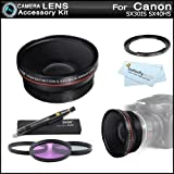 67mm HD Wide Angle Lens Kit For Canon SX50 HS, SX40 HS SX30 IS SX30IS Includes 67mm Wide Angle Lens With Macro...