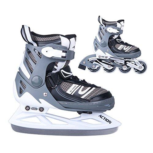 2in1-Schlittschuhe-Inliner-Tifero-ABEC5-schwarz-grau-Gr-31-34-35-38-39-42-verstellbare-Skates