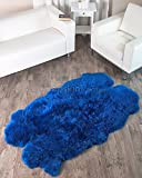 Fiord Blue Sheepskin Rug (Quatro - 4x6ft)