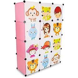 VENKON - Kinderzimmer Steckschrank DYI Steckregal System Regalschrank: 12-Module-Set, rosa