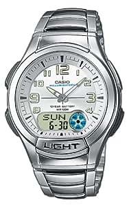 Casio - AQ-180WD-7B - Casual - Montre Mixte - Quartz Analogique - Digital - Cadran Blanc - Bracelet Acier Gris