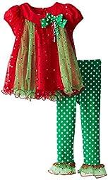 Bonnie Jean Little Girls\' Spangle Mesh Trapeze Legging Set, Green, 4T