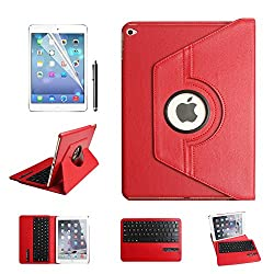 iPad Air 2 Keyboard Case,Dingrich 360 Degree Rotating PU Leather Folio Stand Protective Case with Elastic Strap and Detachable Removable Wireless Bluetooth Keyboard for iPad Air 2 (IPAD AIR 2, RED)