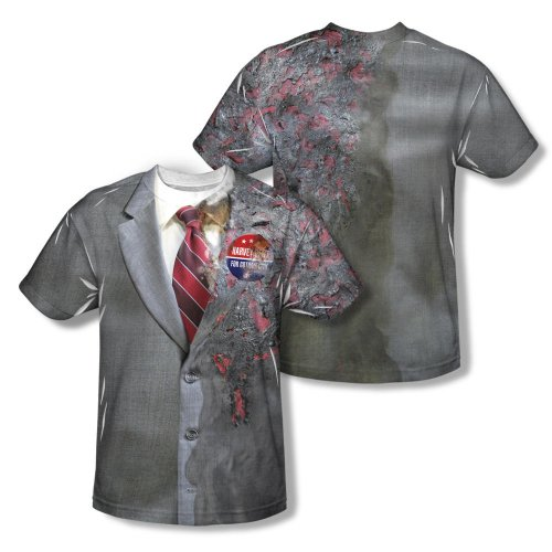 Warner Bros. Men's The Dark Knight Two Face Costume Allover Print T-Shirt