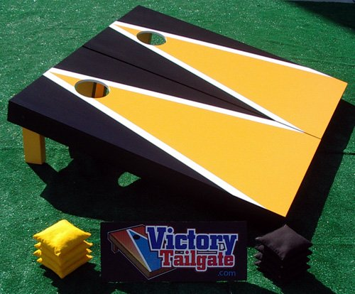 Yellow & Black Custom Painted Cornhole Bag Toss Game Set