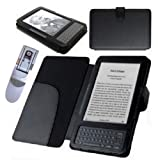TEEPEE ONLINE� 4 COLOURS LEATHER CASE COVER WALLET for AMAZON KINDLE KEYBOARD MODELS PLUS SUPERBRIGHT LED LIGHT (BLACK)