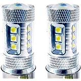 Genssi 2x 80W CREE White H6m High Power LED 12V ATV Scooter LED Lamp Light Bulb