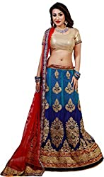 Orange Fab Aqua Blue & Red Net Embroidery Lehenga Choli