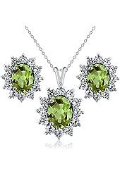 2.93 Ct Oval Green Peridot 925 Sterling Silver Pendant Earrings Set