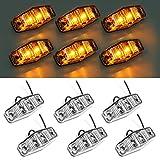 6 luces LED Partsam de 2 diodos ámbar con montura universal superficie clara, funciona como marcador lateral para camión (Tamaño: 2,53 x 1,06 x 0,71 pulgadas)