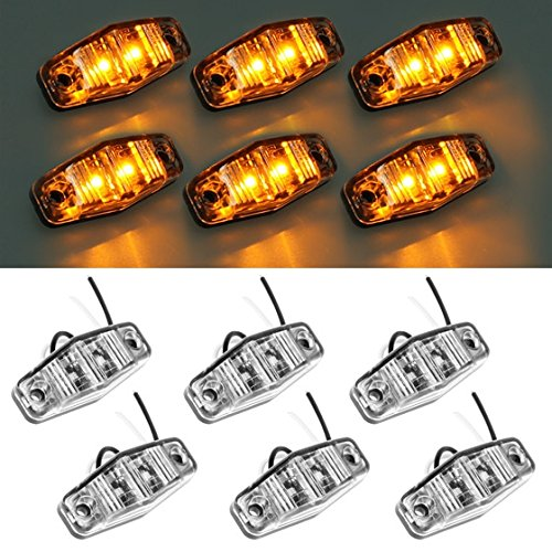 partsam 6pcs led light 2 diode clear  amber universal mount