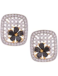 Gehnamart Yellow Gold Plated American Diamond And Black Floral Designer Stud Earring